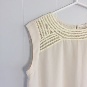 {ModCloth} Fun2Fun cream blouse with crochet yoke